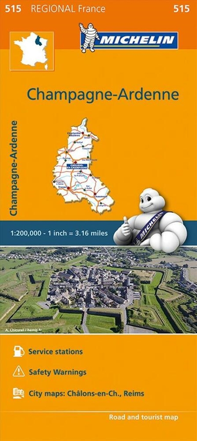 Michelin France blad 515: Champagne - Ardennes